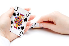 Blackjack hand - focus on jack Royalty Free Stock Photography