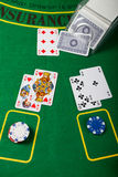 Blackjack hand on green table Royalty Free Stock Photo