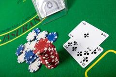 Blackjack hand on green table Stock Photography