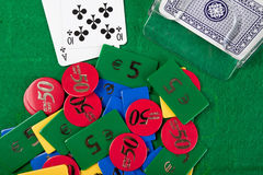 Blackjack hand on green table Royalty Free Stock Photos
