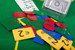 Blackjack hand on green table Royalty Free Stock Photography