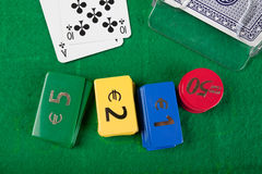 Blackjack hand on green table Royalty Free Stock Images