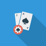 Blackjack. Icon. Flat vector related icon with long shadow for web and mobile applications. It can be used as - logo, pictogram, icon, infographic element stock illustration