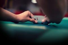 Blackjack kardiert Kombination von Ace und von Königin Lizenzfreie Stockfotos
