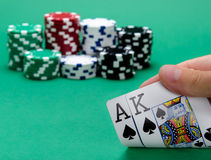 Blackjack with King and Ace. Winning position in blackjack with a king of spades and ace of spades cards Royalty Free Stock Images