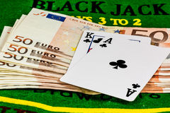 Blackjack over fifty euro banknotes Stock Photo