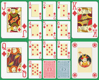 Blackjack Playing Cards Diamonds Suit. Playing cards diamonds suit, blackjack version. Faces and joker double sized. Two cards back and green background Royalty Free Stock Photos