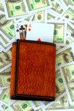 Blackjack in portefeuille Stock Foto