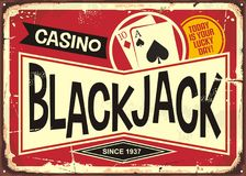 Blackjack retro casino sign Royalty Free Stock Photos