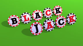 Blackjack Sign On Chips. Green background Royalty Free Stock Photo