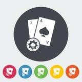 Blackjack. Single flat icon on the circle button. Vector illustration stock illustration