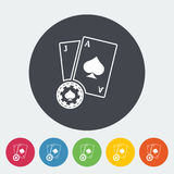 Blackjack. Single flat icon on the circle button. Vector illustration vector illustration