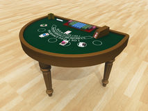 Blackjack table. Computer generated 3D illustration with a blackjack table royalty free illustration