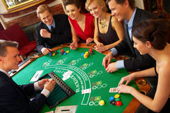 BlackJack Table. Friends havin Stock Images