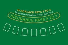 Blackjack table. top view. Vector illustration royalty free illustration
