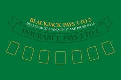 Blackjack table. top view. Vector illustration stock illustration