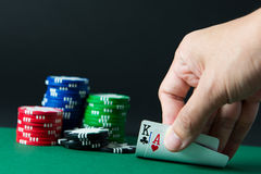 Blackjack. Two playing cards show blackjack with poker chips royalty free stock images