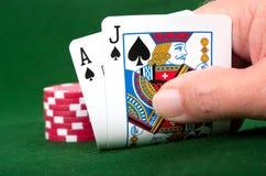 Blackjack Winner. Winning Blackjack hand with poker chip bet stock images