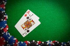 Blackjack winning hand Stock Photos