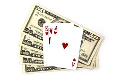 Blackjack and Winnings. Blackjack and US Dollars Royalty Free Stock Photography
