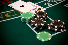 Blackjack6. Blackjack table scene Royalty Free Stock Photo