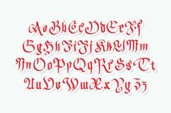 Blackletter gothic script hand-drawn font Stock Photos