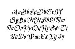 Blackletter gothic script hand-drawn font Royalty Free Stock Photo