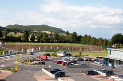 Blacklion shopping centre in Greystones, view on Bray Head hill. July 17, 2015 Stock Image
