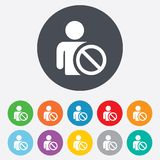 Blacklist sign icon. User not allowed symbol. Round colourful 11 buttons stock illustration