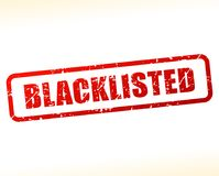 Blacklisted text buffered. Illustration of blacklisted text buffered on white background Stock Images