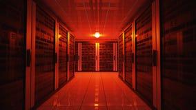 Blackoutbegrepp Nöd- felrött ljus i datorhall med serveror framförd illustration 3d royaltyfri illustrationer