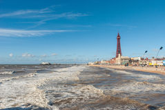 Blackpool Angleterre sur Sunny Windy Day Photo libre de droits