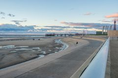 Blackpool Beach during fall stock images