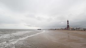 Blackpool Beach, Lancashire, England, United Kingdom. Blackpool Beach in England, United Kingdom stock video footage