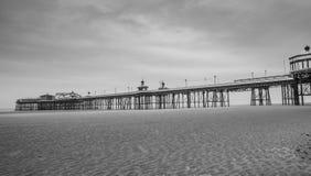 Blackpool beach pier black and white stock image