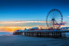 Blackpool Central Pier and Ferris Wheel, Lancashire, UK. Blackpool Central Pier and Ferris Wheel, Lancashire Royalty Free Stock Photos