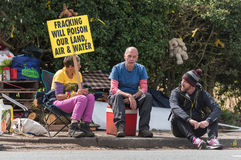 Blackpool, england, 31/07/2017 Anti shale gas fracking protestors outside the cuadrilla fracking site at Preston New Road in Lanca Stock Photo