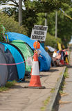 Blackpool, england, 31/07/2017 Anti shale gas fracking protestors outside the cuadrilla fracking site at Preston New Road in Lanca Stock Photography