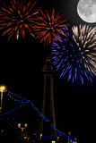 Blackpool Fireworks. Blackpool with firework and a full moon Royalty Free Stock Photos