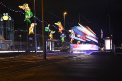 Blackpool Illuminations with a speeding tram Stock Photography