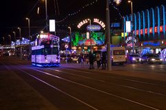 Blackpool Illuminations. And tram. Blackpool is a seaside town in the northwest of the UK and is known as the Vegas of the north Royalty Free Stock Photography