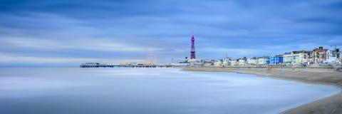 Blackpool på natten Royaltyfri Foto