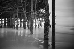 Blackpool pleasure beach black and white.  Royalty Free Stock Photo
