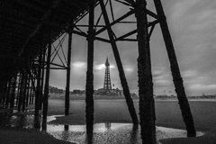 Blackpool pleasure beach black and white.  Royalty Free Stock Photos