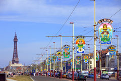 Blackpool promenade with tower. A view of Blackpool promenade with tower and colourful light decorations Stock Photos