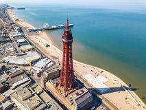 Blackpool tower in Blackpool, UK stock photos