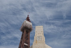 Blackpool Tower and Clocktower Stock Photo