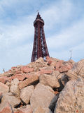 Blackpool tower england in an urban post apocalyptic scene Stock Photos