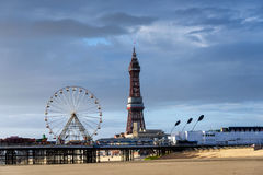 Blackpool Tower & Ferris Wheel Royalty Free Stock Photography