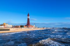 Blackpool Tower, from the North Pier, Lancashire, England, UK. Blackpool Tower, from the North Pier, Lancashire Stock Photography
